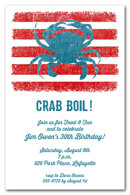 Blue Crab on Red Stripes Party Invitations