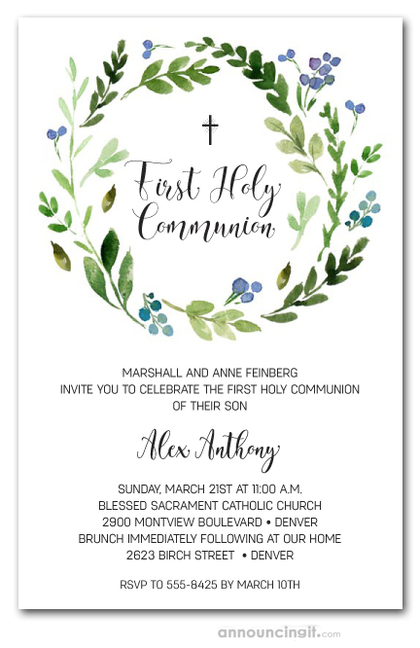 Blue Bud Wreath Communion Invitations