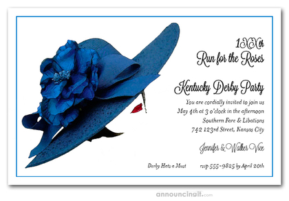Floral Blue Derby Hat Party Invitations