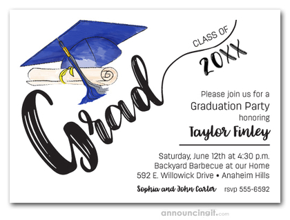 Blue & Silver Tassel on Blue Cap Graduation Invites