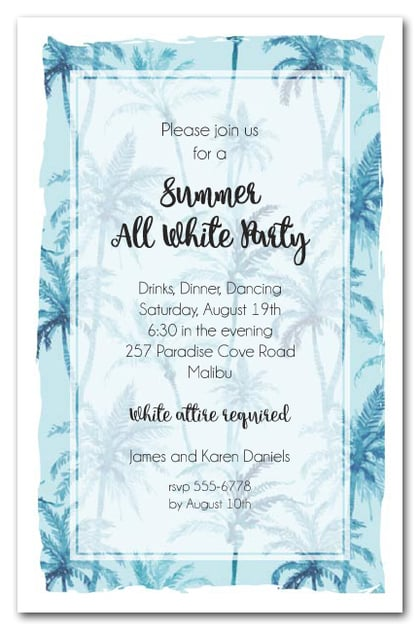 Blue Palm Trees Party Invitations