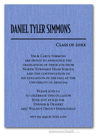 Shimmery Blue Classic Graduation Invitations