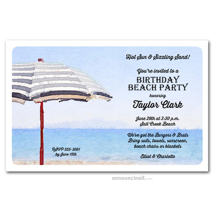 Striped Beach Umbrella Party Invitations