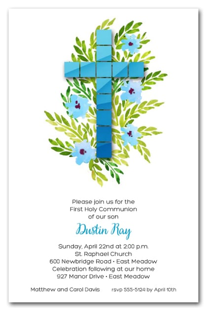 Blue Tile Cross First Holy Communion Invitations