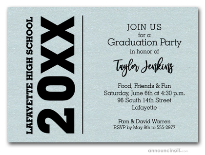 Bold Year Shimmery Aqua Graduation Invitations