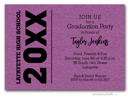 Bold Year Shimmery Purple Graduation Invitations