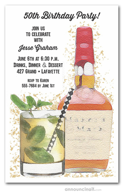 Bourbon Bottle Party Invitations