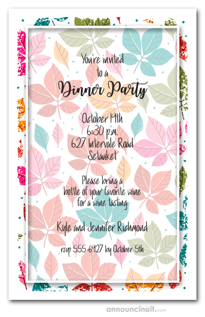 Bright Fall Leaves and Dots Party Invitations