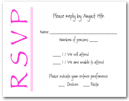Bright Pink On White RSVP Cards 6