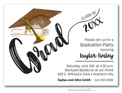 Brown & Yellow Tassel on Brown Cap Graduation Invites
