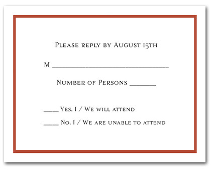 Burnt Orange Border RSVP Card #8