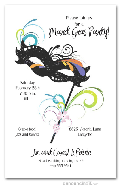 Carnival Black Mask Mardi Gras Party Invitations
