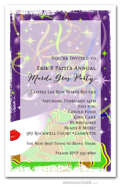 Carnivalesque Mardi Gras Invitations
