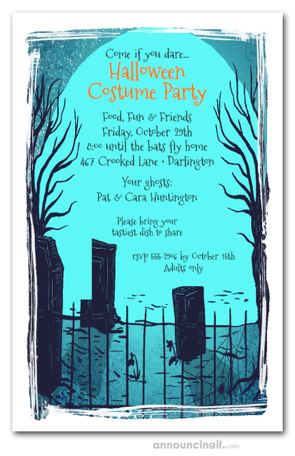 Cemetery Shadows Halloween Party Invitations