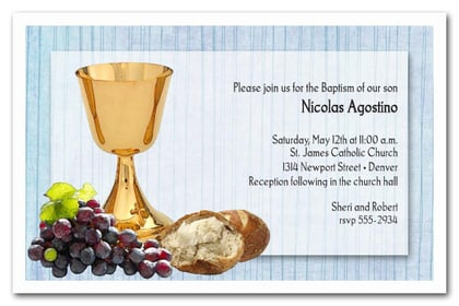 Chalice & Bread on Blue Baptism