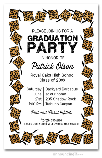 Cheetah Cap & Black Tassel Graduation Invites