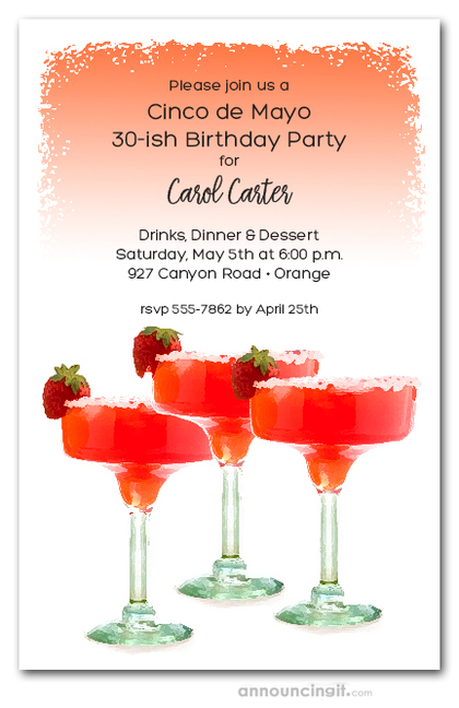 Chilled Strawberry Margaritas Invitations