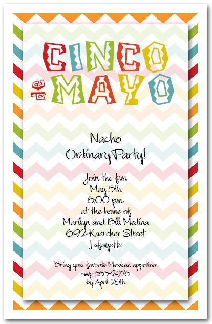 cinco de mayo chevron party invitations
