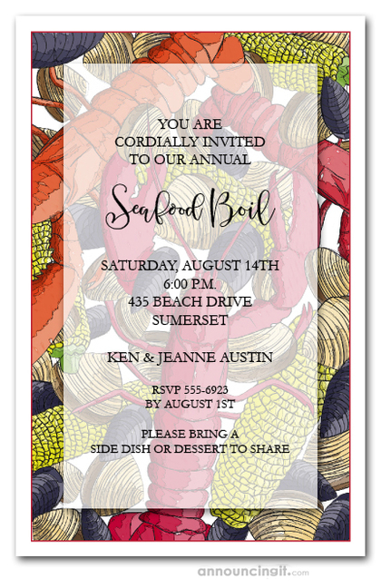 Seafood Feast Party Invitations