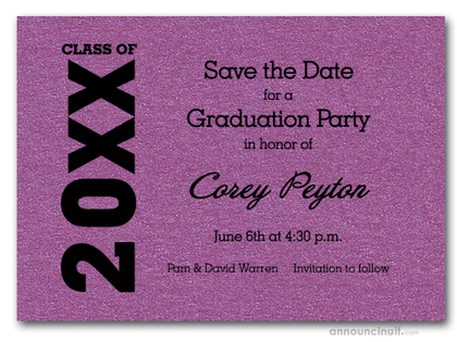 Shimmery Purple Graduation Save the Date Cards