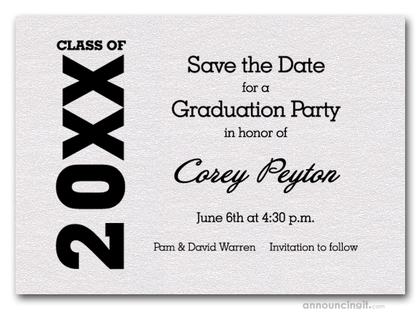 Shimmery White Graduation Save the Date Cards