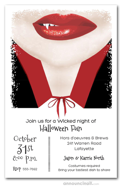vampire smile halloween costume party invitations