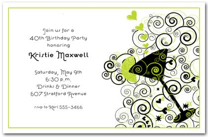 Cocktail on Green and Black Swirls Invitations