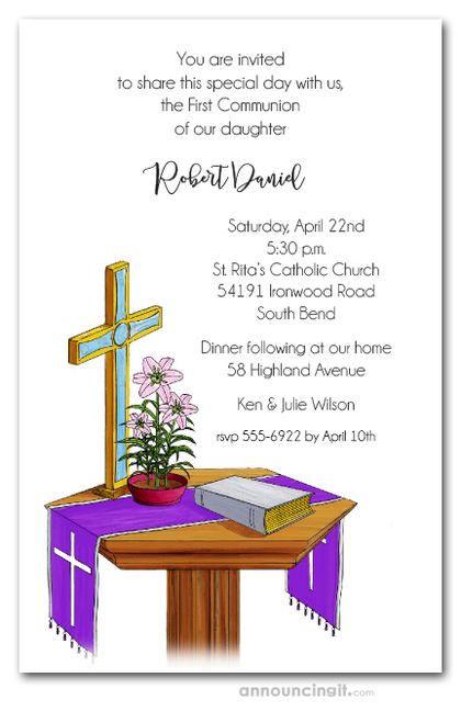 Communion Table Blue Cross Invites