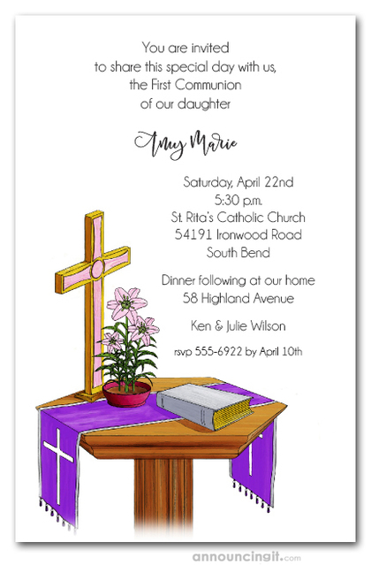 Communion Table Pink Cross Invitations