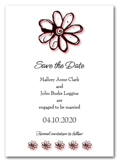 Coral Daisy Save the Date