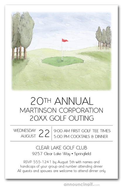 Green and Pin Golf Course Invitations