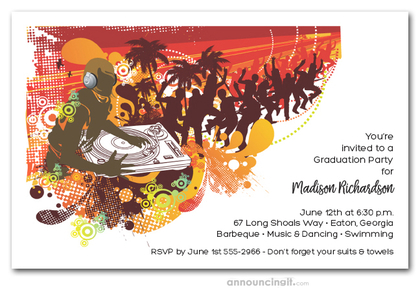 DJ Graduation Party Invitations