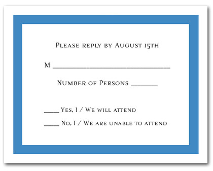 Dazzling Blue Border RSVP Cards #5