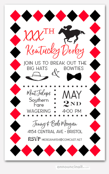 Derby and Diamonds Party Invitations