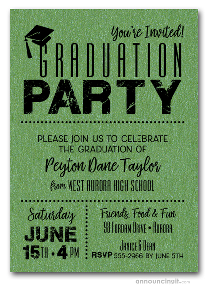 Shimmery Green Dotted Graduation Invitations