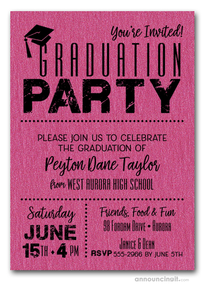 Shimmery Hot Pink Dotted Graduation Invitations