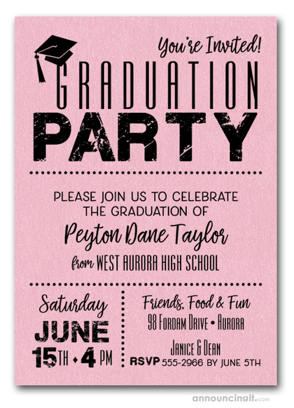 Shimmery Pink Dotted Graduation Invitations