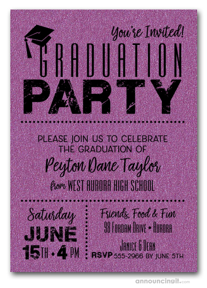 Shimmery Purple Dotted Graduation Invitations