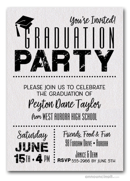 Shimmery White Dotted Graduation Invitations