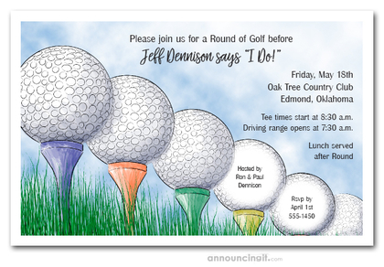 Driving Range Golf Theme Invitations