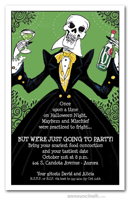 Elegant Skeleton Halloween Invitations