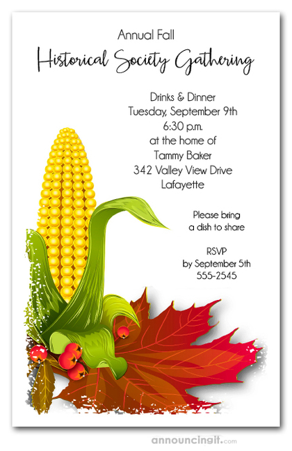 Fall Corn and Leaves Invitations