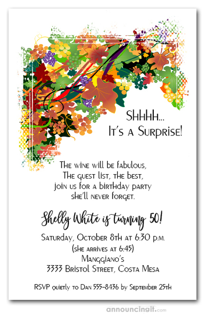 Fall Leaves and Grapes Invitations