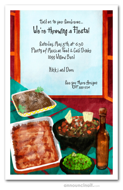 Fiesta Feast Party Invitations