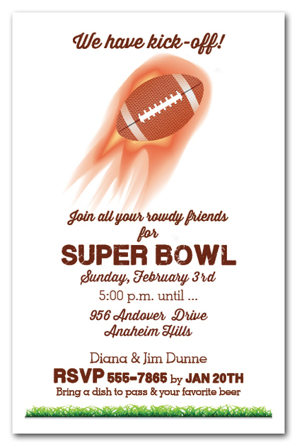 Flaming Kick Off Super Bowl Invitations