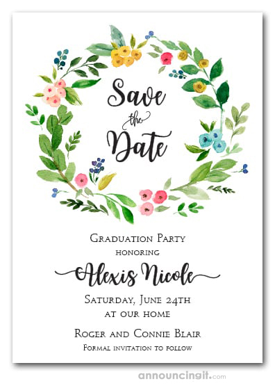 Donna Floral Wreath Graduation Save the Date Cards