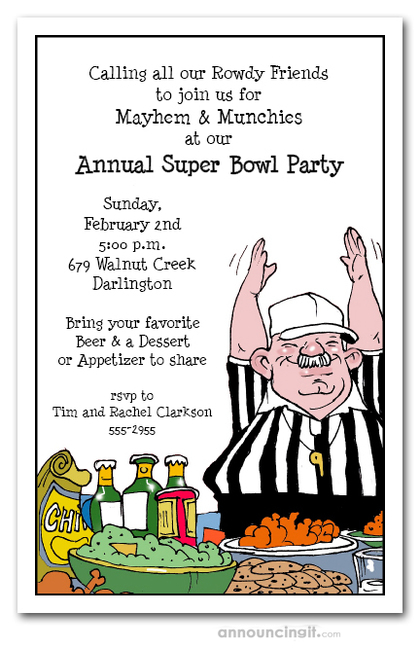 Food Ref Super Bowl Party Invitations