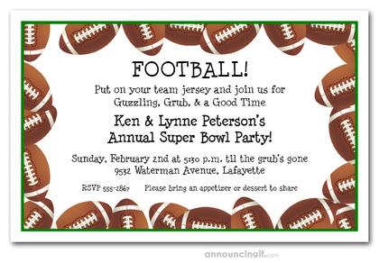 Football Border Super Bowl Invitations