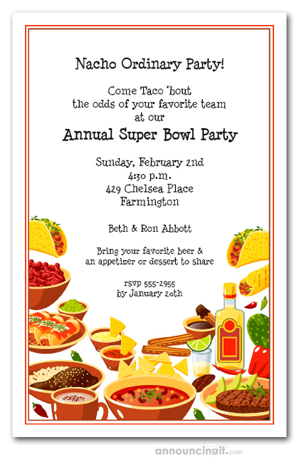 Super Bowl Fiesta Buffet Invitations