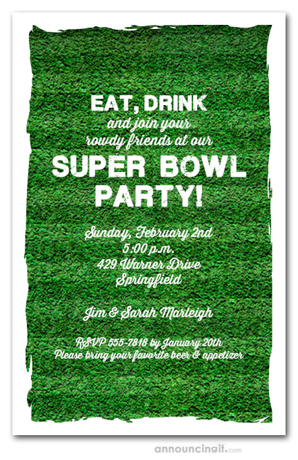 Football Turf Super Bowl Invitations